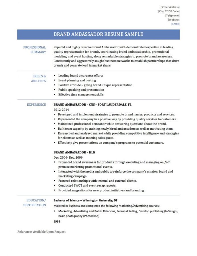 counselor resume sample most effective format entry level brand ambassador after effects Resume Brand Ambassador Resume