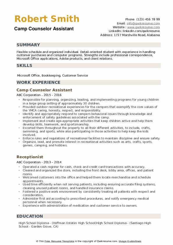 counselor resume samples qwikresume for summer job pdf good management examples call Resume Resume For Summer Camp Job