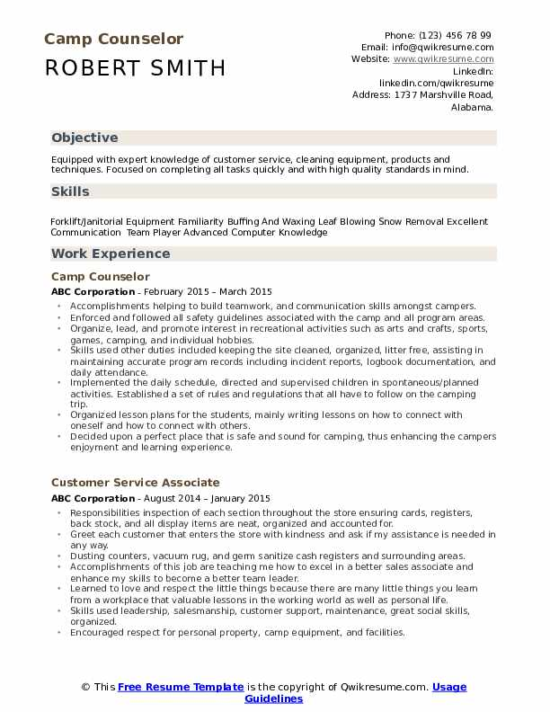 counselor resume samples qwikresume for summer job pdf spring microservices fraud analyst Resume Resume For Summer Camp Job