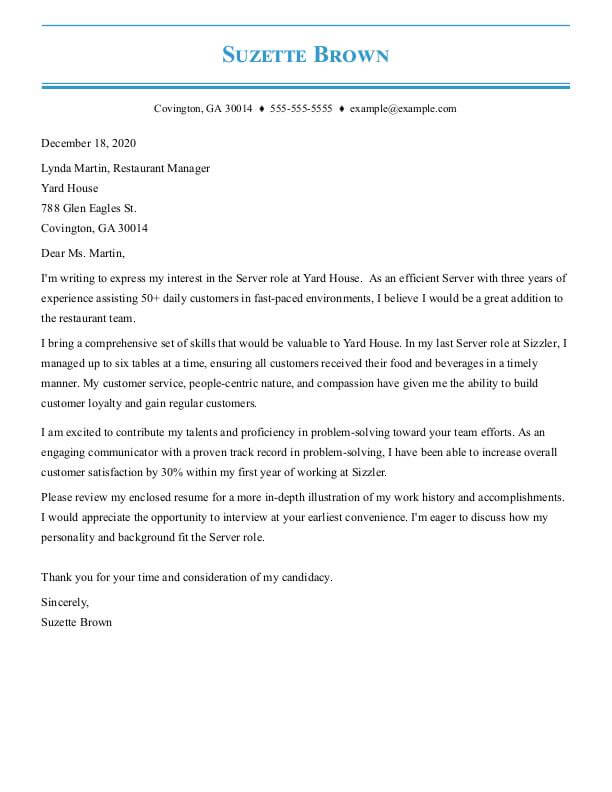 cover letter examples by job my perfect resume awesome letters for resumes server food Resume Awesome Cover Letters For Resumes