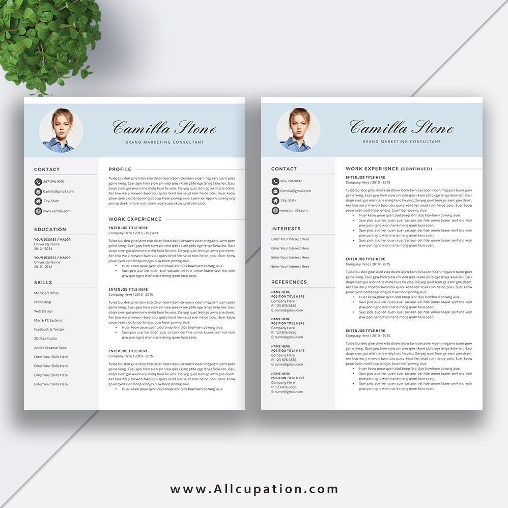 creative resume template modern cv word job cover letter instant mac pc camilla Resume Millennial Resume Format
