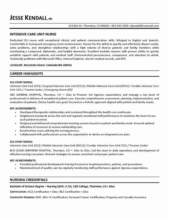 critical care nursing resume lovely free icu intensive unit nurse example in registered Resume Sample Icu Nurse Resume