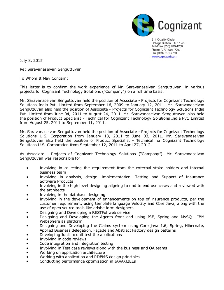 cts experience letter resume format for company lva1 app6891 thumbnail new graduate Resume Resume Format For Cts Company