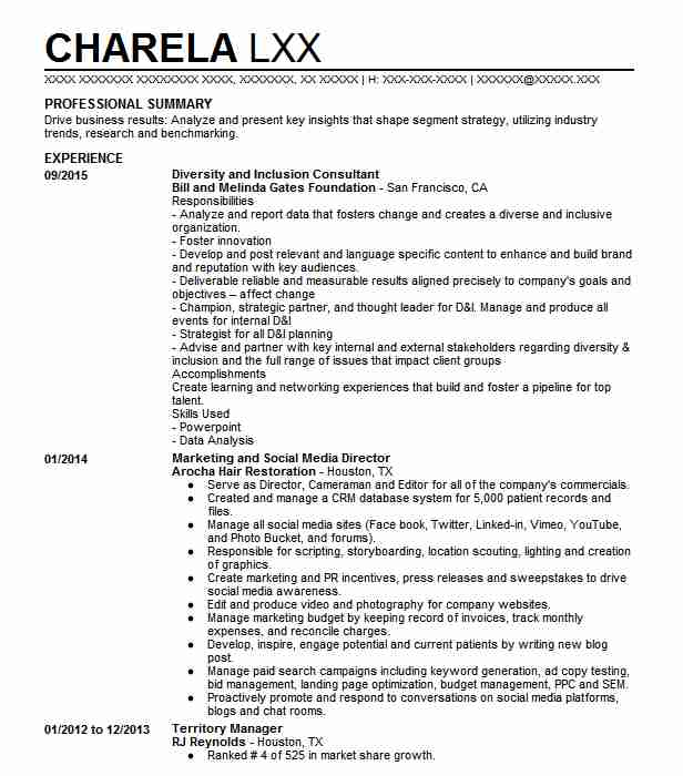 culture diversity inclusion manager resume example company name germantown procurement Resume Diversity Manager Resume