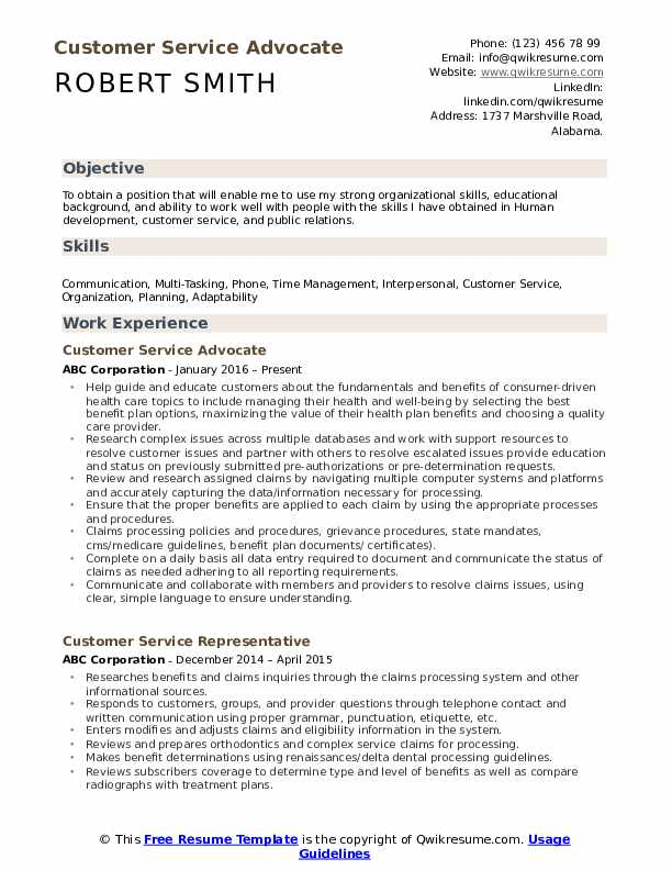 customer service advocate resume samples qwikresume experience objective pdf template Resume Customer Service Experience Resume Objective