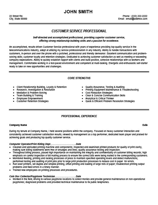 customer service professional resume template premium samples example top phone number Resume Top Resume Phone Number