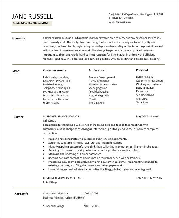 customer service resume templates pdf free premium format for retail red rooster Resume Resume Format For Customer Service