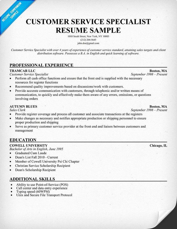 customer support specialist resume lovely service panion examples marketing good typed Resume Customer Service Specialist Resume