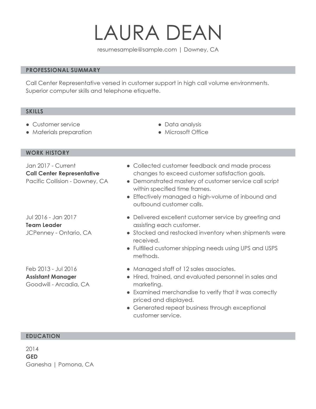 customize our customer representative resume example format for service call center Resume Resume Format For Customer Service