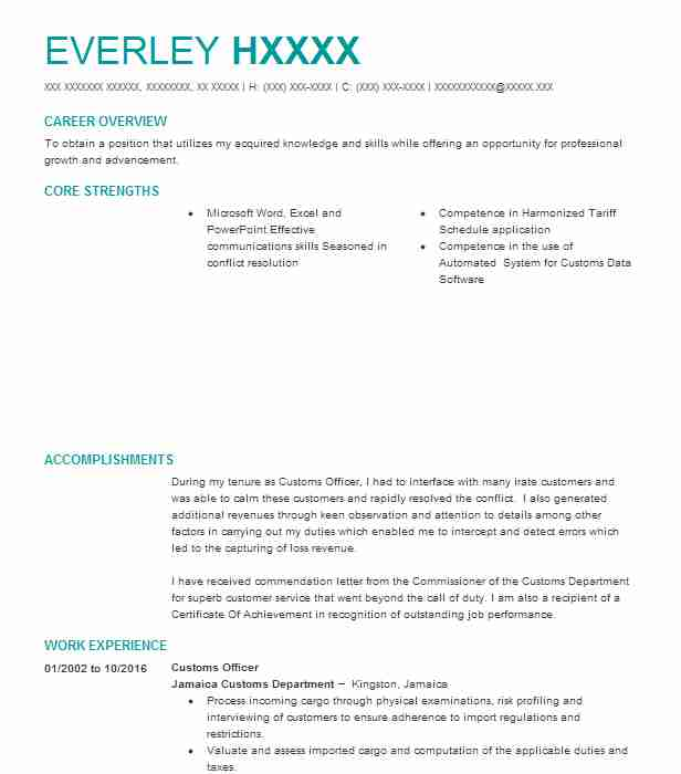 customs officer resume example resumes livecareer objective for food and beverage Resume Resume Objective For Customs Officer