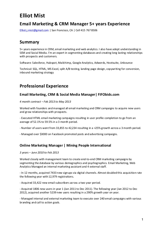cv email marketing crm resume sample starbucks experience makeup artist skills and Resume Email Marketing Resume Sample