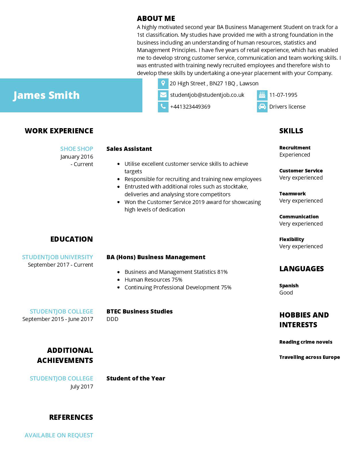 cv examples and templates studentjob resume tips for students james cropped photography Resume Resume Tips For Students