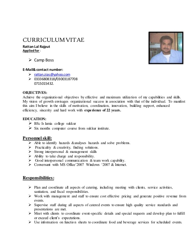 cv of ratan lal boss catering resume financial analyst objective google docs template Resume Catering Camp Boss Resume