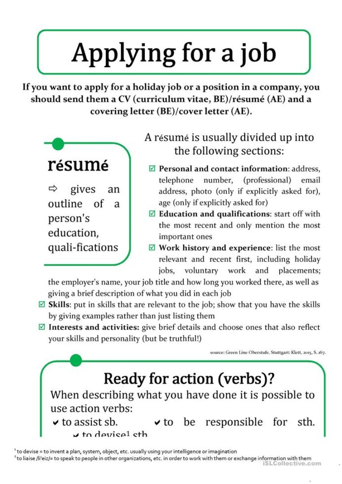 cv résumé and cover ing letter english esl worksheets for distance learning physical Resume Resume Worksheets For Students