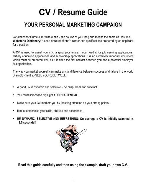 cv resume guide your personal college marketing word builder timeline examples free Resume Personal Marketing Resume
