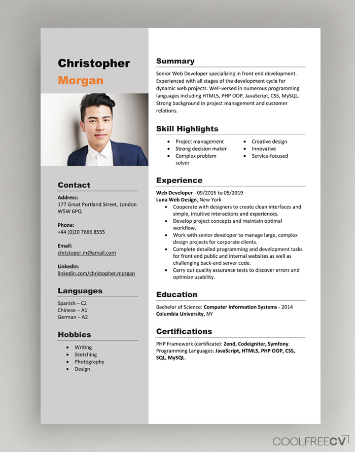 cv resume templates examples word format template free with photo gas station counselor Resume Resume Format Template Free Download