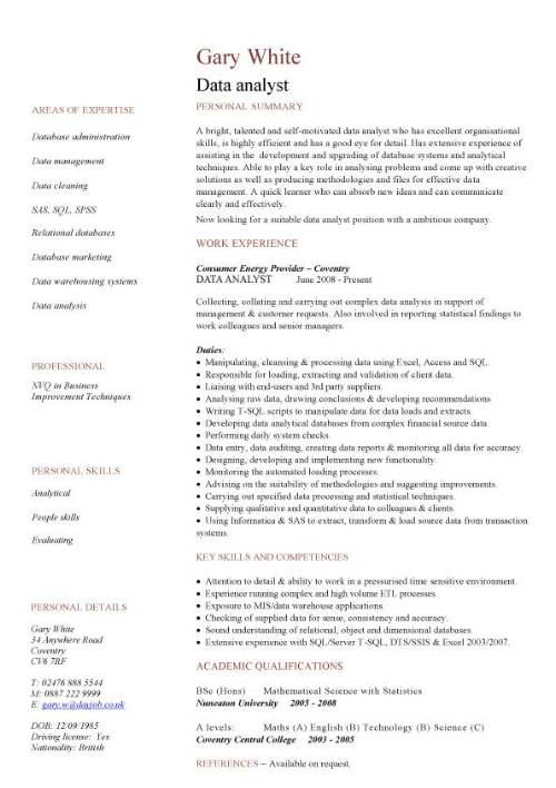 data analyst cv sample experience of analysis and migration writing skills resume pic Resume Data Analyst Skills Resume