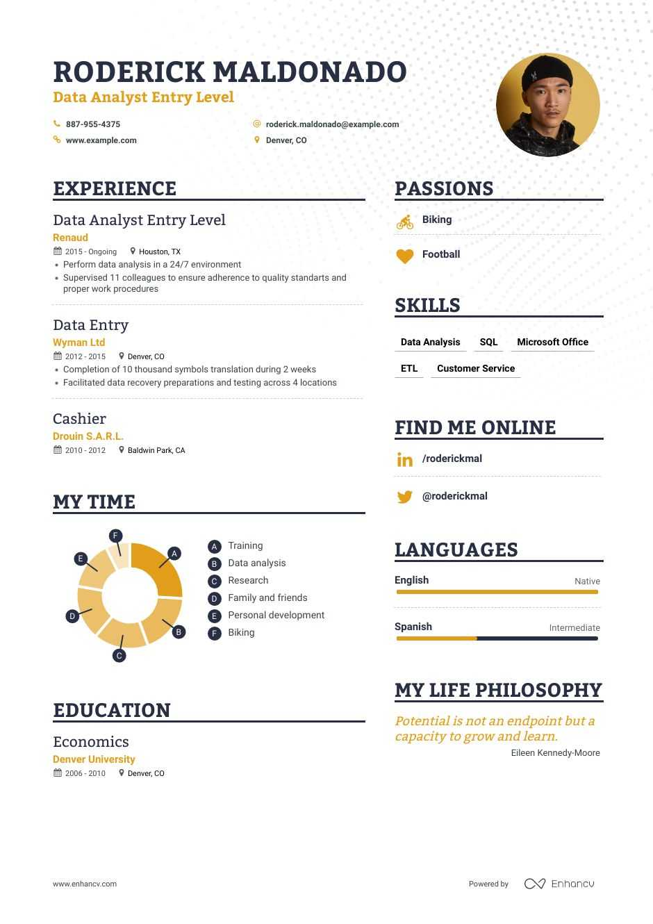 data analyst entry level resume examples inside to tips enhancv skills warehouse template Resume Data Analyst Skills Resume