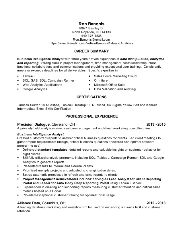 data analyst resume ron banonis skills objective for diesel mechanic dop composition head Resume Data Analyst Skills Resume