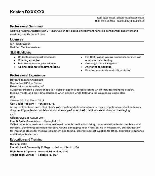 daycare teacher assistant resume example livecareer objective business development Resume Teacher Assistant Resume Objective