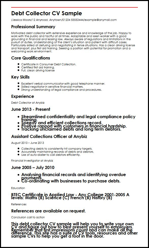 debt collector resume sample about yourself examples reverse chronological order format Resume Collection Resume Format