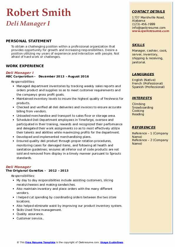 deli manager resume samples qwikresume job description for pdf oracle with rac experience Resume Deli Manager Job Description For Resume