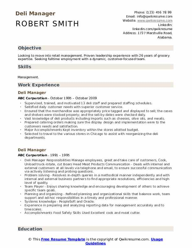 deli manager resume samples qwikresume job description for pdf without education oracle Resume Deli Manager Job Description For Resume