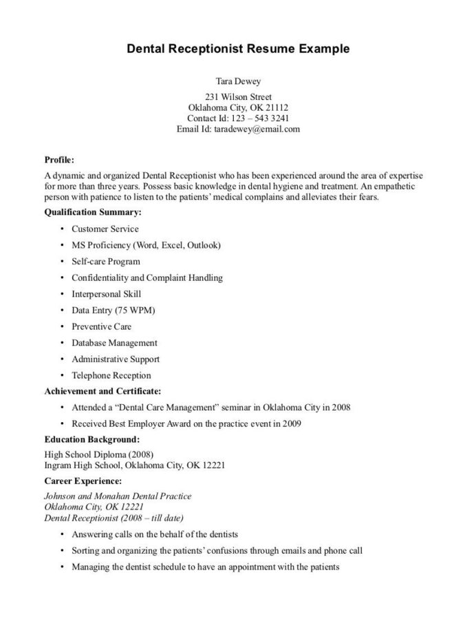 dental receptionist jobs front desk resume sample for warehouse worker good accounting Resume Example Of Dental Receptionist Resume