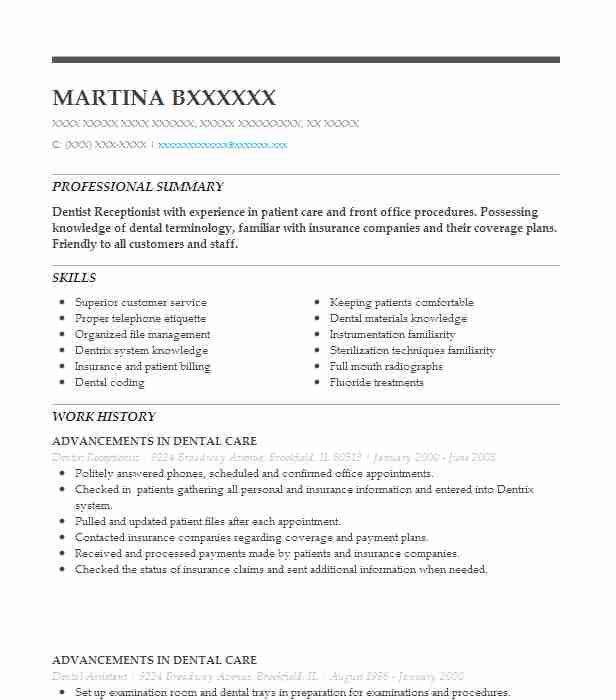 dentist receptionist resume example resumes livecareer of dental mail your experienced Resume Example Of Dental Receptionist Resume