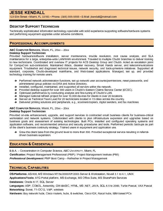 desktop support technician resume it supports samples additional experience on classic Resume It Supports Technician Resume Samples