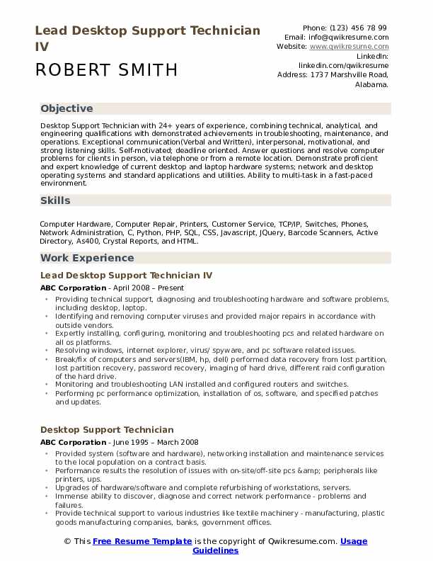desktop support technician resume samples qwikresume it supports pdf general cover letter Resume It Supports Technician Resume Samples