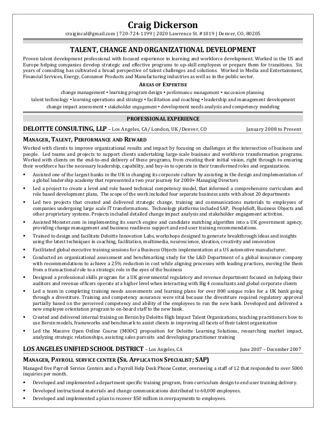dickerson talent management organizational development specialist resume guide for sample Resume Talent Management Specialist Resume