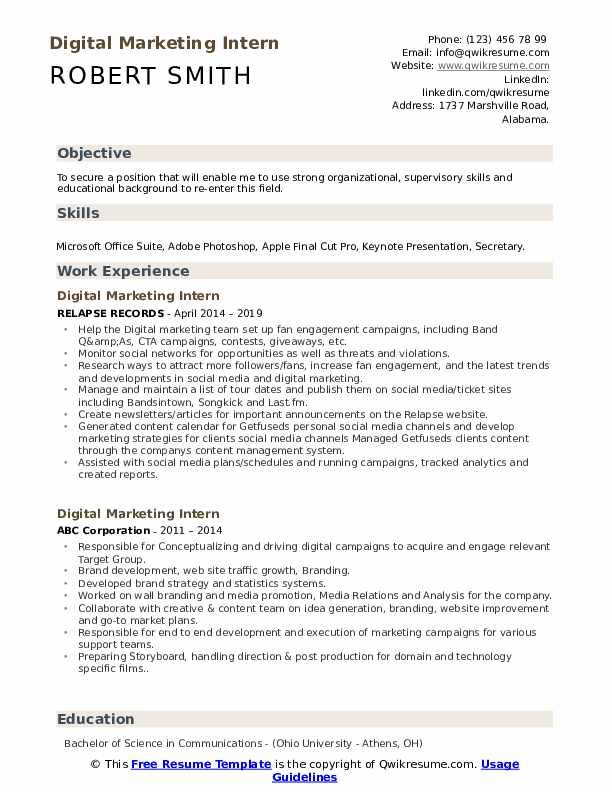 digital marketing intern resume samples qwikresume best format for fresher pdf smt Resume Best Resume Format For Digital Marketing Fresher