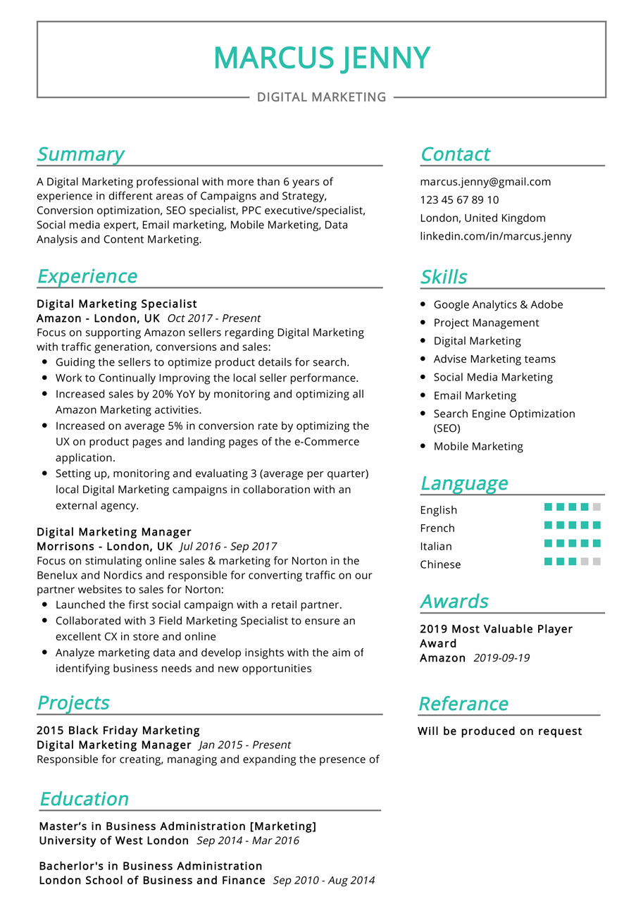 digital marketing resume example cv sample resumekraft examples firebase hp button Resume Marketing Resume Examples 2020