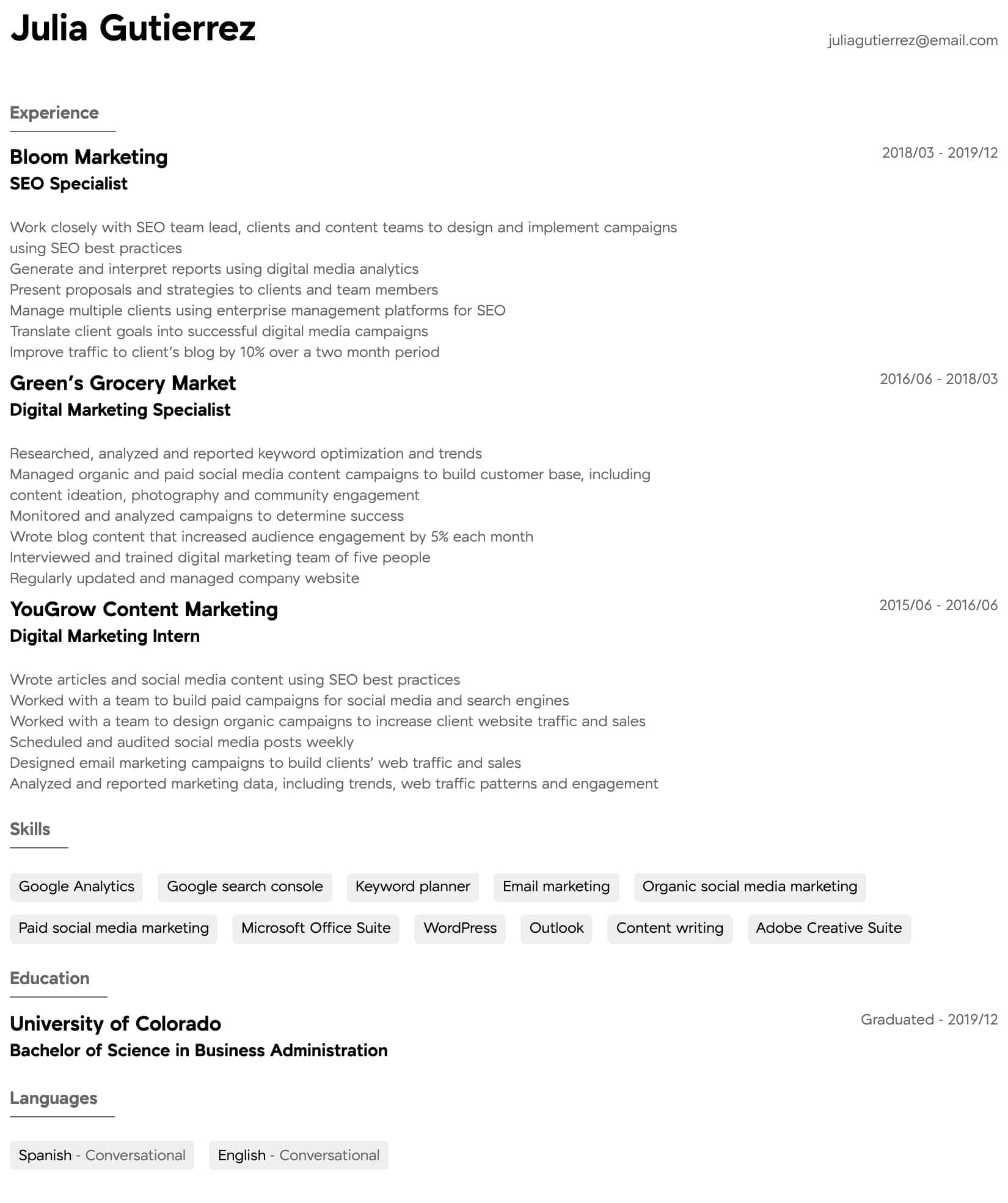 digital marketing resume samples all experience levels email specialist intermediate Resume Email Marketing Specialist Resume