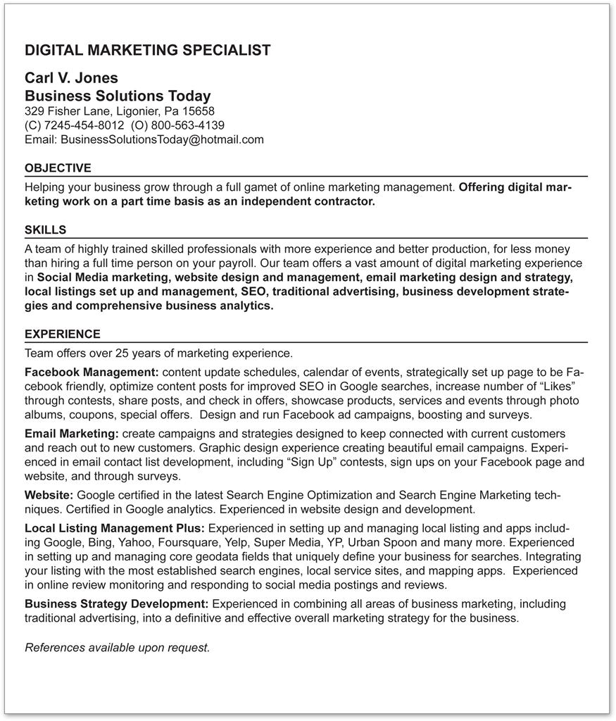 digital marketing specialist resume business solutions today inc email brief summary of Resume Email Marketing Specialist Resume