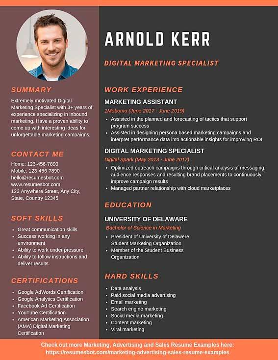 digital marketing specialist resume samples templates pdf resumes bot examples example Resume Marketing Resume Examples 2020