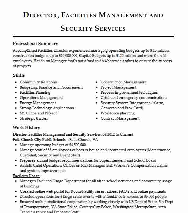 director facilities operations resume example guardian life insurance company of ticket Resume Director Of Facilities Resume