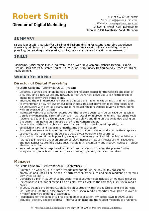 director of digital marketing resume samples qwikresume summary pdf clinical research Resume Digital Marketing Resume Summary