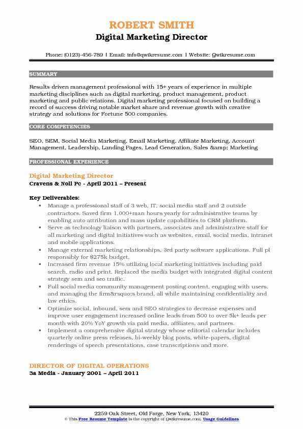 director of digital marketing resume samples qwikresume summary pdf for construction Resume Digital Marketing Resume Summary