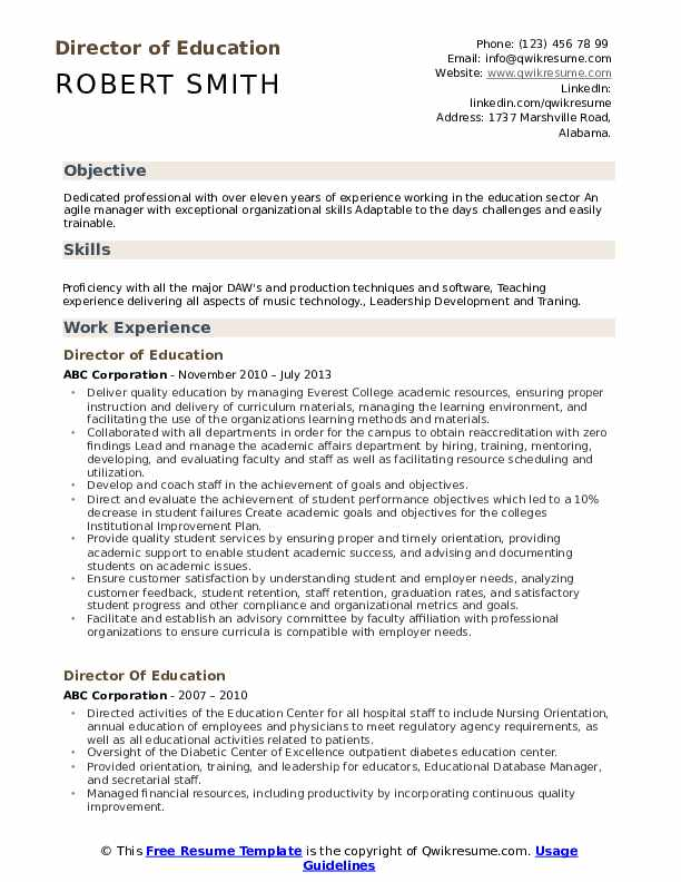 director of education resume samples qwikresume including on pdf business operations Resume Including Education On Resume