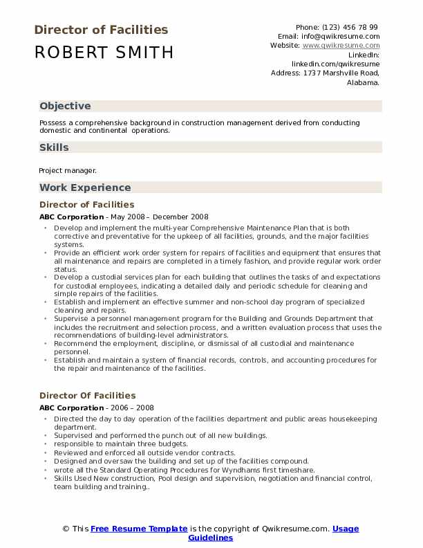 director of facilities resume samples qwikresume pdf out the box best writing services Resume Director Of Facilities Resume