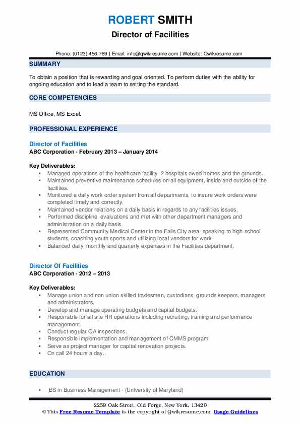 director of facilities resume samples qwikresume pdf out the box sapui5 acting format Resume Director Of Facilities Resume