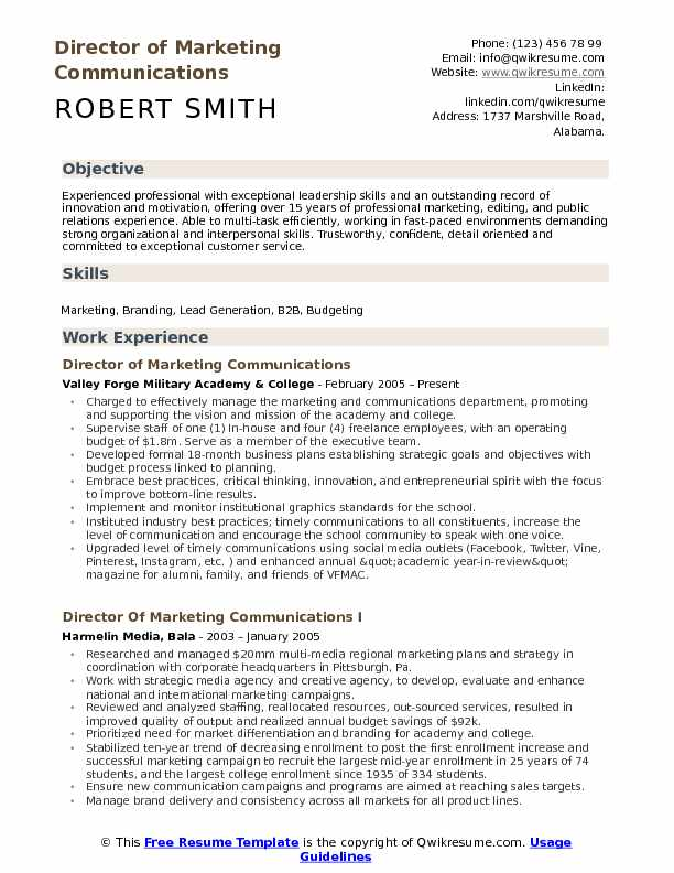 director of marketing communications resume samples qwikresume communication section on Resume Communication Section On Resume