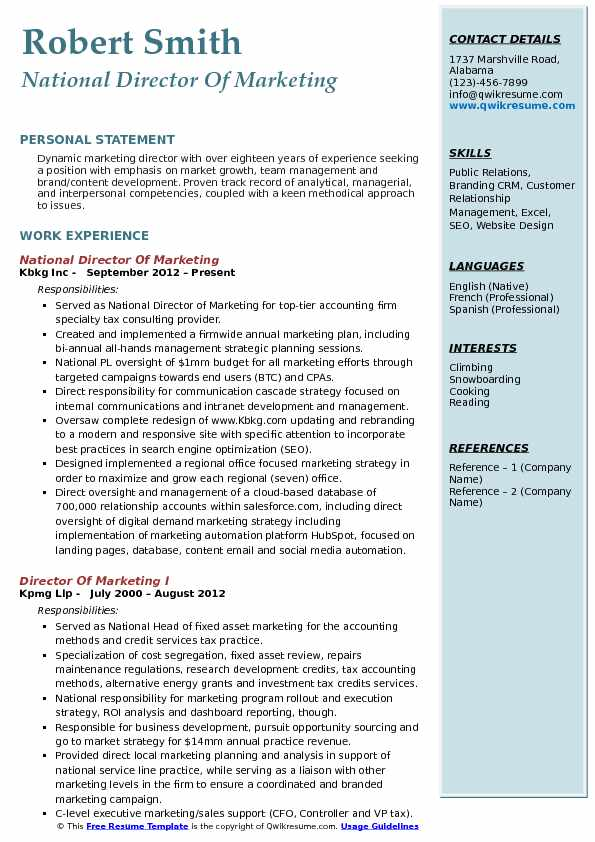 director of marketing resume samples qwikresume personal pdf windows templates free cover Resume Personal Marketing Resume
