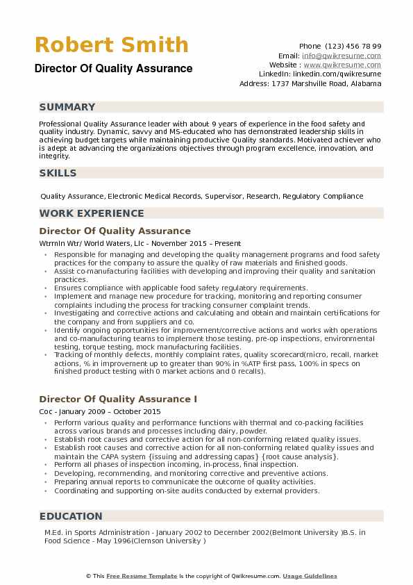 director of quality assurance resume samples qwikresume experience pdf junior loan core Resume Quality Control Technician Resume Sample