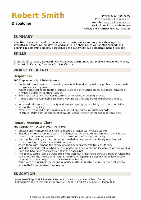 dispatcher resume samples qwikresume for position pdf indeed update loss prevention Resume Resume For Dispatcher Position