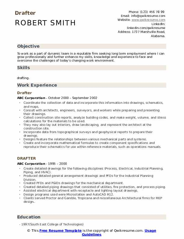 drafter resume samples qwikresume free template for term employment pdf indesign Resume Free Resume Template For Long Term Employment