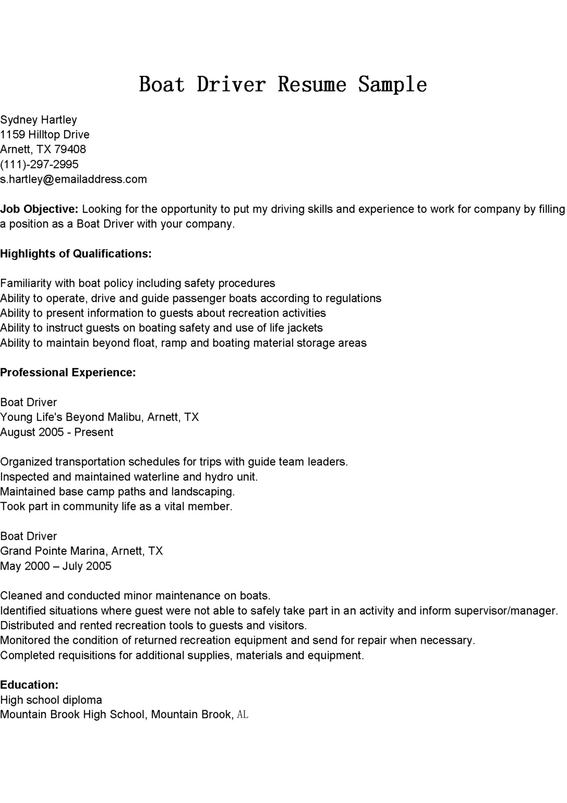 driver resumes boat resume sample responsibilities words for collaborate unc template Resume Driver Responsibilities Resume