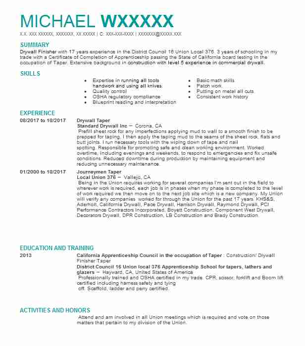 drywall finisher taper resume example unlimited phoenix sample professional background Resume Drywall Taper Resume Sample